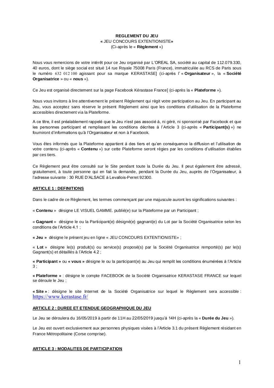 Reglement Jeu Concours Par L Oreal Dgaf Fichier Pdf