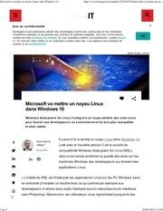 elemicrosoft va mettre un noyau linux dans windows 10