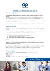 stage  controle de gestion projets