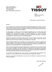 lettre de motivation tissot