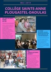 newsletter college sainte anne plougastel daoulas mai 2019
