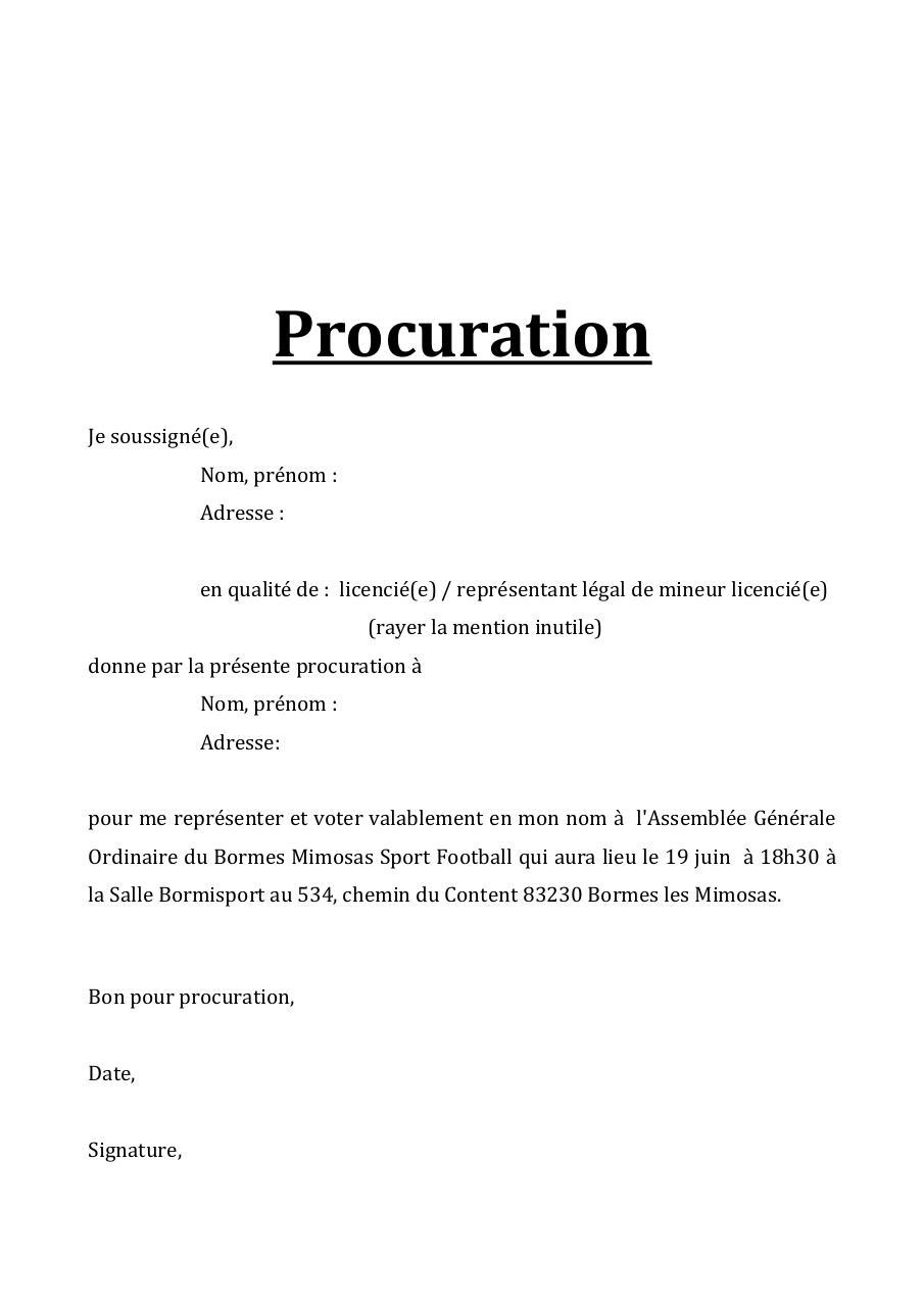 Modèle De Procuration Pour Signature D Un Document - Compartilhando Documentos