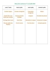 menu de la cantine du 1er juillet 2019
