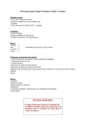 Fichier PDF necessaire pour le sport aventure et kids aventure