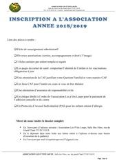 dossier dinscription 2018 2019