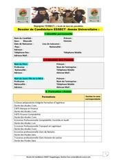 dossier de candidature  bts licence  essect
