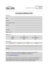 Fichier PDF formulaire affiliation 2019