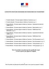 listedocafournir passeport
