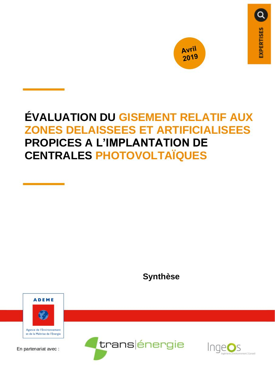 Aperçu du document ADEME 2019-04 - Étude Potentiel PV Friches & Parkings - Synthèse.pdf - page 1/9