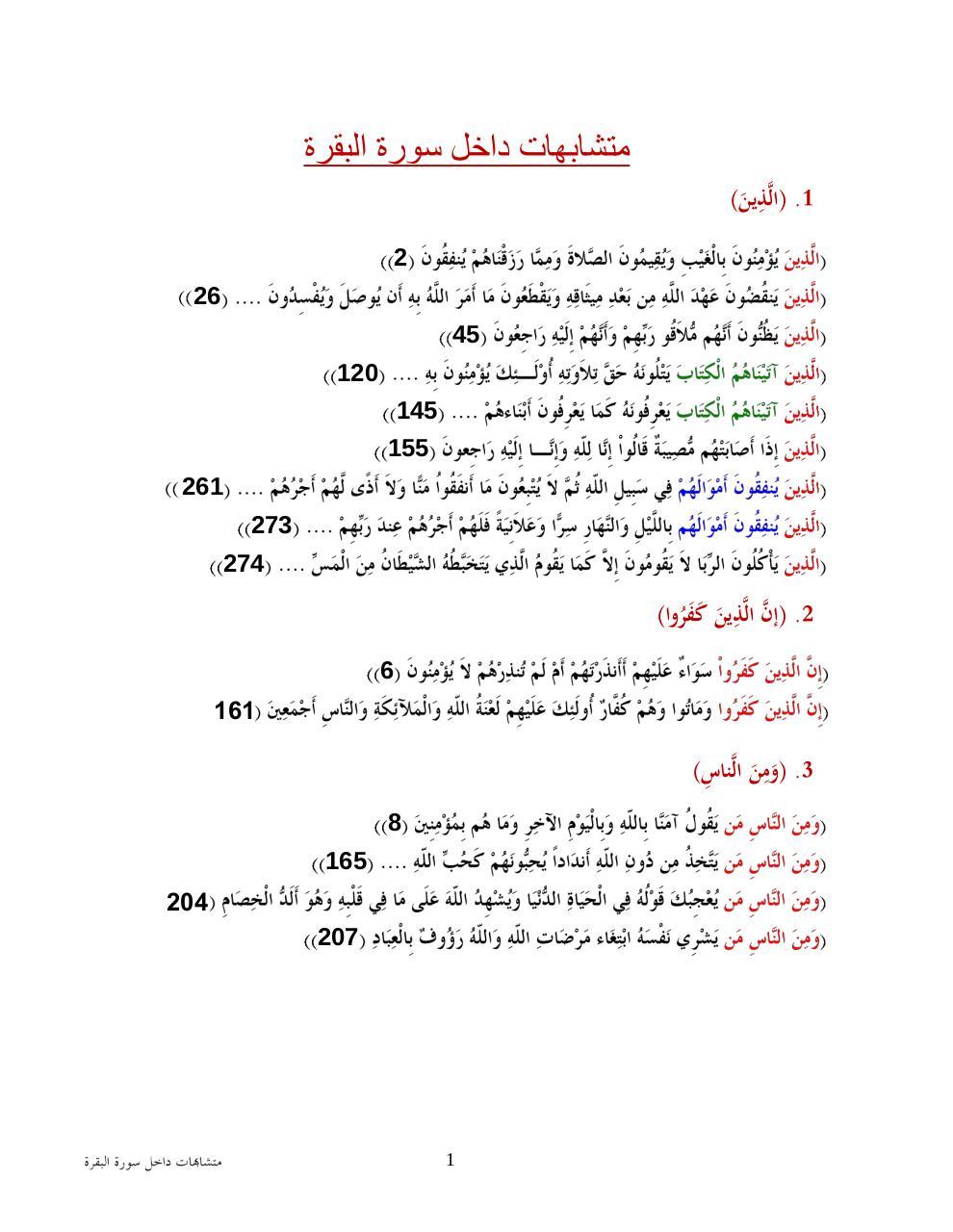 متشابهات سورة البقرة Par Hany Fichier Pdf