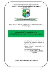 opportunites et contraintes de lentrepreunariat feminin a bukavu