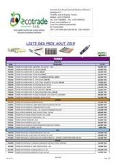 liste des prix aout  2019