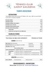 tarifs tc saint gaudens 2019 2020