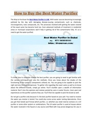 how to buy the best water purifier