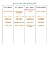 menu de la cantine 9 au 13 septembre 2019
