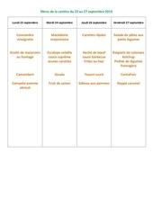menu de la cantine du 23 au 27  septembre 2019