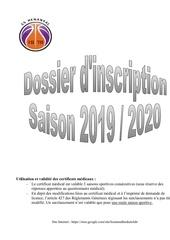 demande de licence adulte 2019 2020
