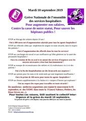 greve mardi10 septembre 2019 pour lhopital public