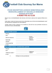 fiche inscription licence dematerialisee