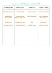 menu de la cantine du 30 septembre 2019