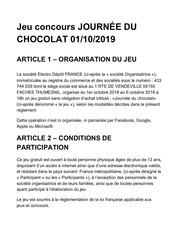 reglement journee chocolat