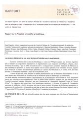 rapport sur le projet de loi relatif a la bioethique 2019 09 anm
