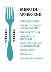 menu du week 1