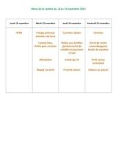 menu de la cantine du 11 au 15 novembre 2019