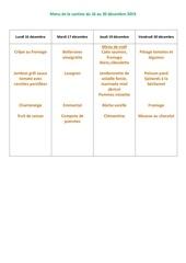 menu de la cantine du 16 au 20 decembre  2019