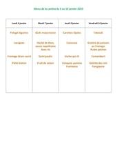 menu de la cantine du 6 au 10 janvier 2020