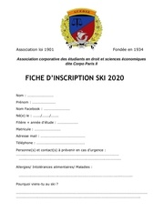 dossier inscription ski 2020