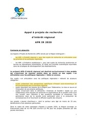 cahier des charges apr ir 2020