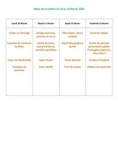 menu de la cantine du 10 au 14 fevrier 2020