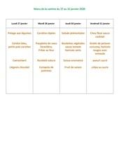 menu de la cantine du 27 au 31  janvier 2020