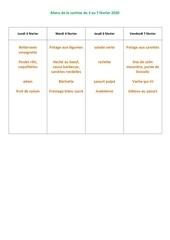 menu de la cantine du 3 au 7 fevrier 2020