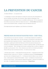 la prevention du cancer