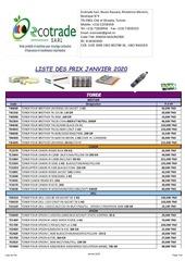 liste des prix janvier 2020