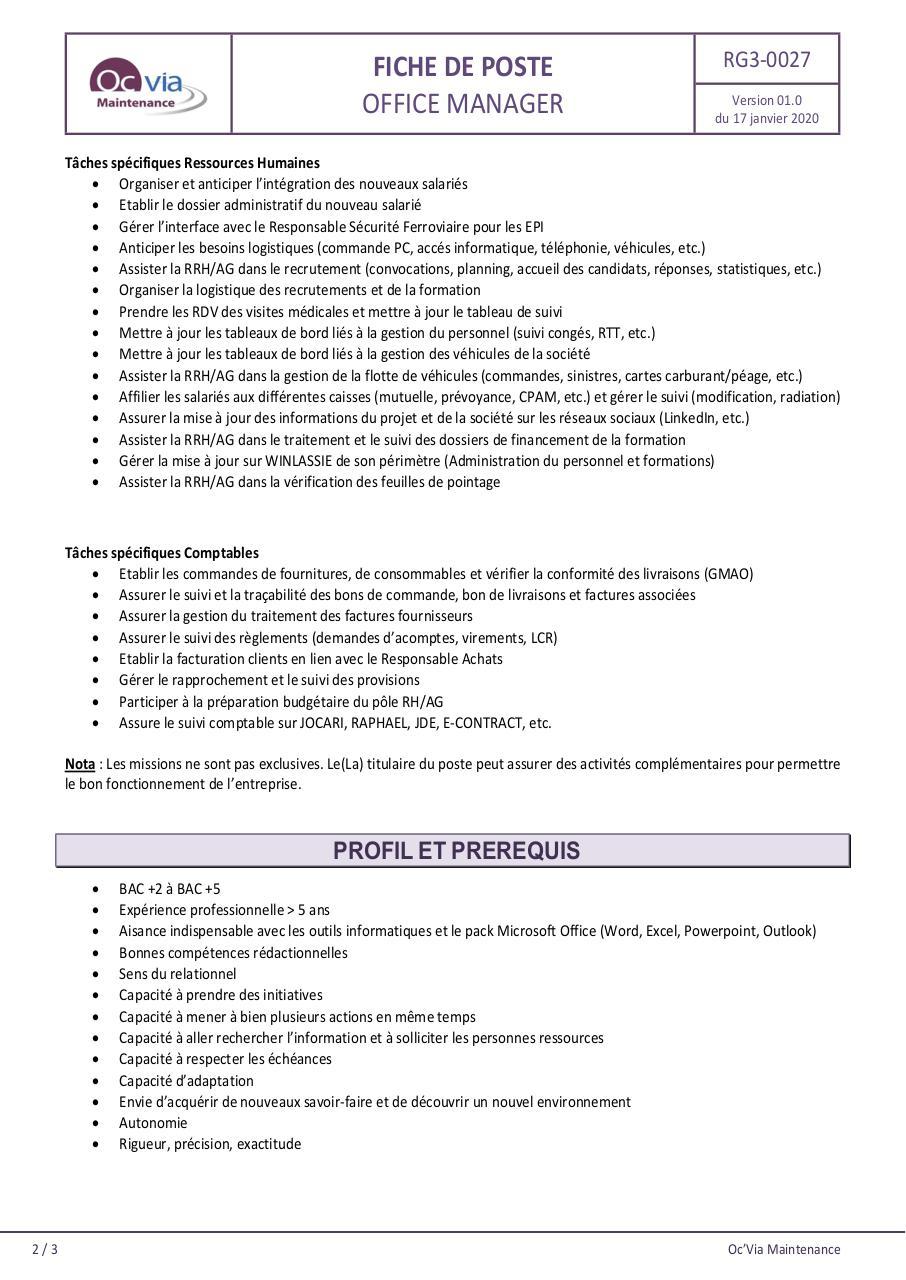 RG3-0027 (00.3) Fiche de poste-Office Manager par PERCHET ...