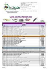 liste des prix fevrier 2020