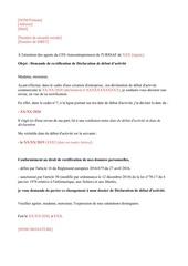 modele lettre rectification declaration debut dactivite
