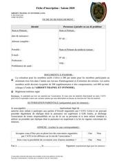 fiche inscription 2020