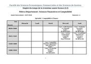 emplois du temps 3eme annee semestre 06 cours