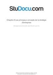 chapitre 8 les principaux concepte de la strategie dentreprise