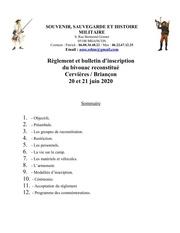 reglement  inscription au bivouac cervieres juin 2020