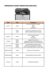 pieces imprimante sharp ar6020 6023 6026 6031 lilia