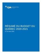 resume du budget du quebec 2020 03