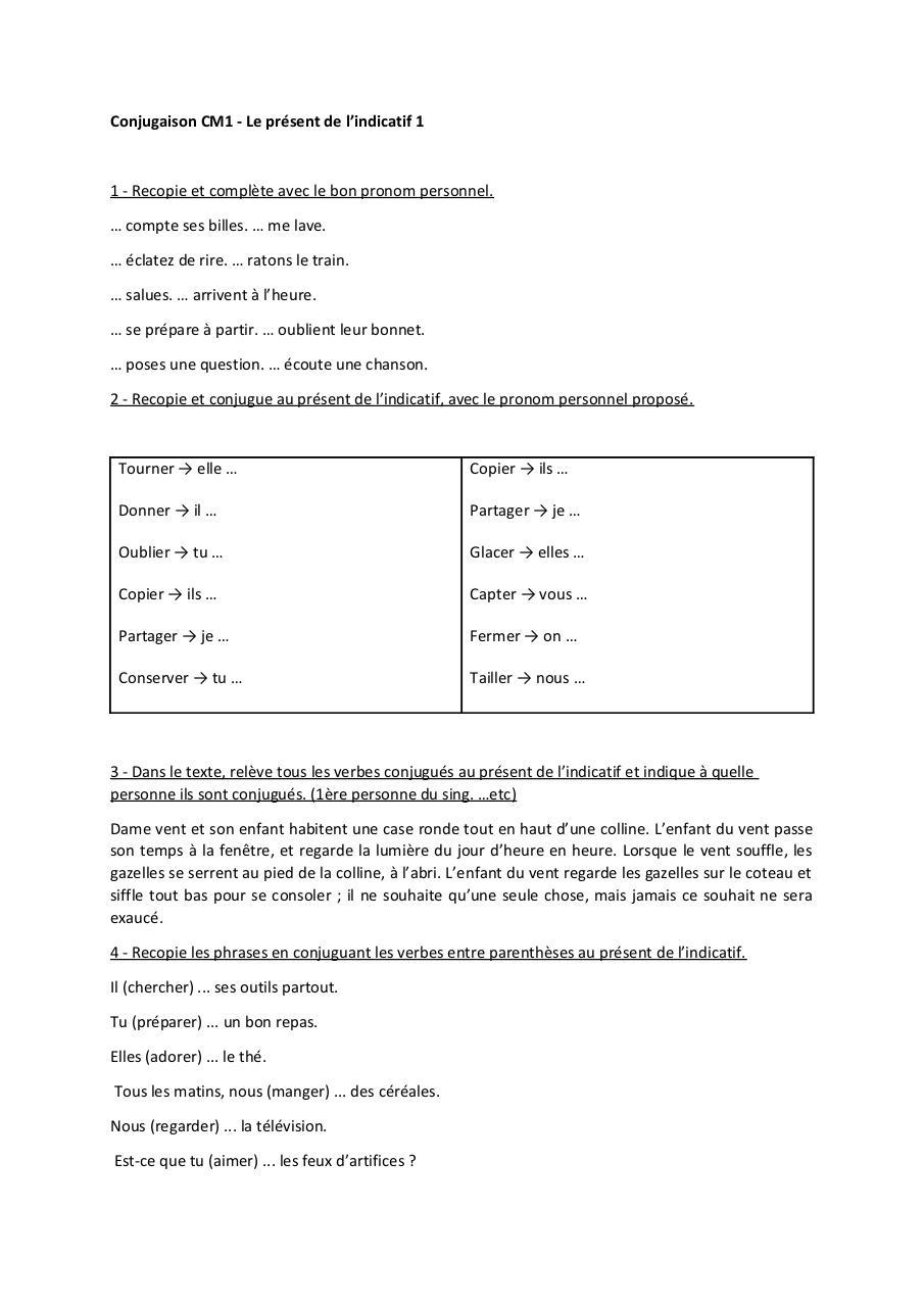 Exercice Conjugaison Present Cm1 Par Maxime Vieilleville Fichier Pdf