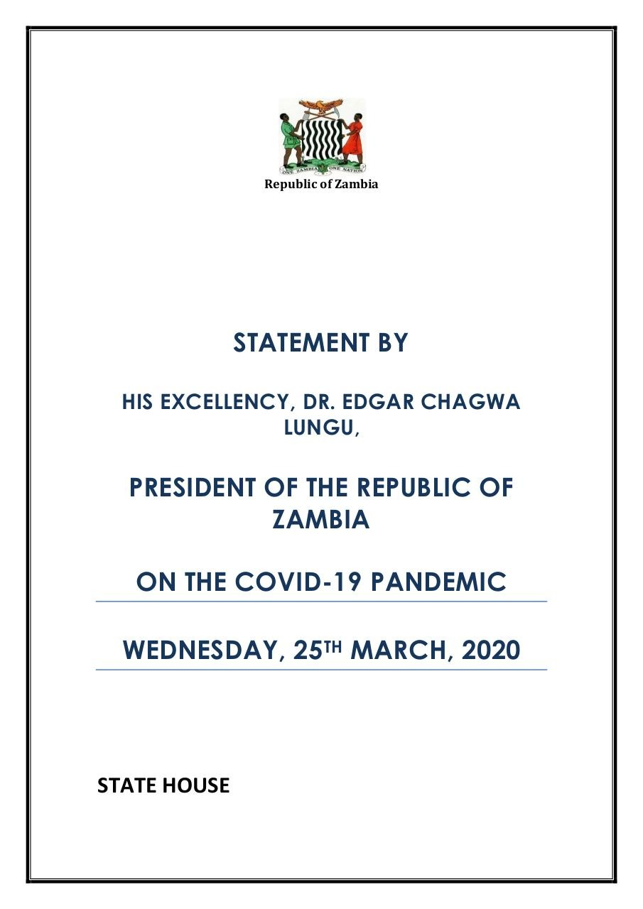 STATEMENT, PRESIDENT LUNGU ADDRESSES NATION ON COVID 19FINAL.pdf - page 1/12