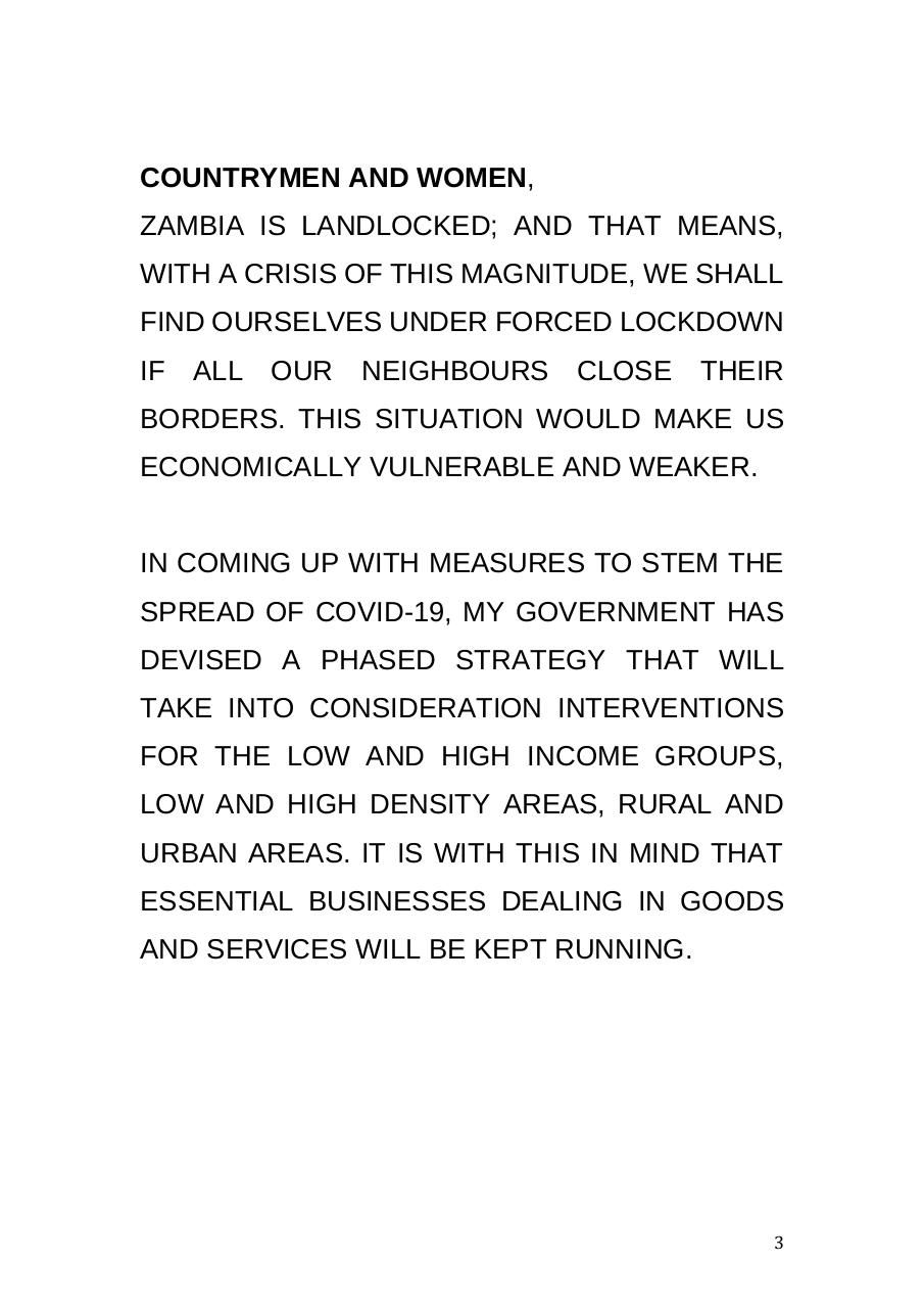 STATEMENT, PRESIDENT LUNGU ADDRESSES NATION ON COVID 19FINAL.pdf - page 3/12