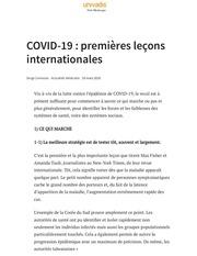 covid 19  premieres lecons internationales  univadisdr baghriche